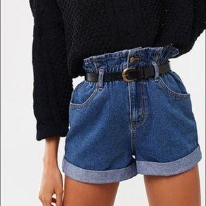 Belted Denim Paperbag Shorts